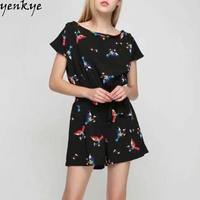 Summer Overalls 2017 Vintage Black Birds Printed Rompers Womens Jumpsuit O Neck Short Sleeve With Belt