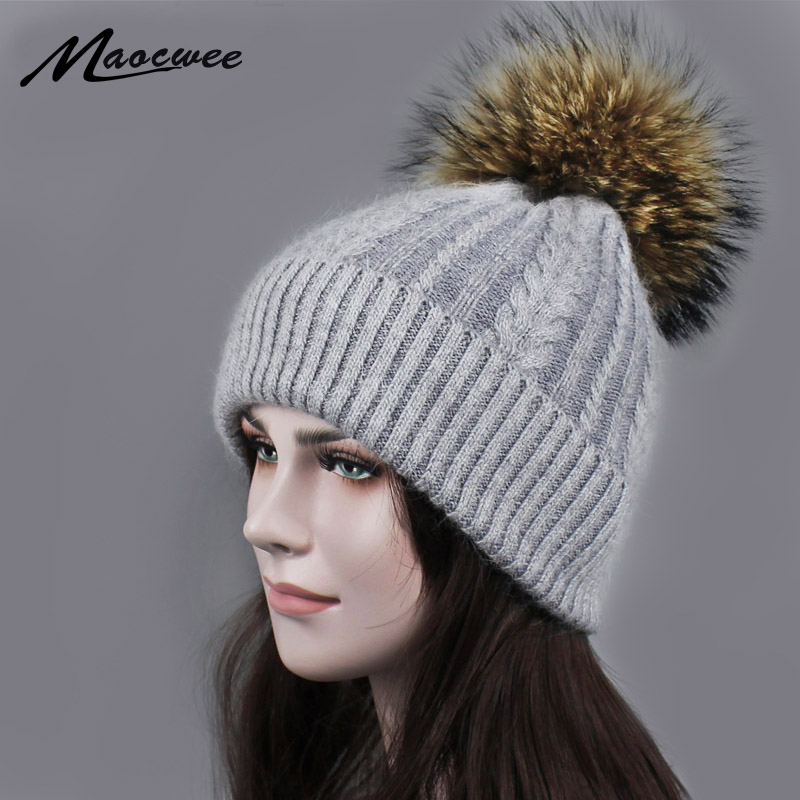 Natural Raccoon Fur Women's Winter Warm Hats Girls Knitted Wool Rabbit Ski Caps Female Headgear Pompon   Skullies     Beanies   Gorro