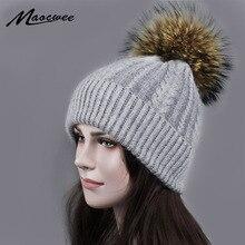 Natural Raccoon Fur Women's Winter Warm Hats Girls Knitted Wool Rabbit Ski Caps Female Headgear Pomp