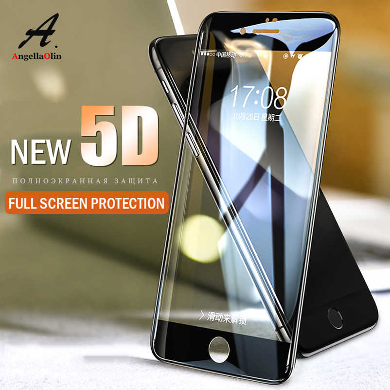 "5D Melengkung Kaca Tempered untuk iPhone X Max XR 8 6 S X 7 6 Plus 6.1 ""6.5 ""2018 Glass Screen Protector Full Cover Film Kasus"