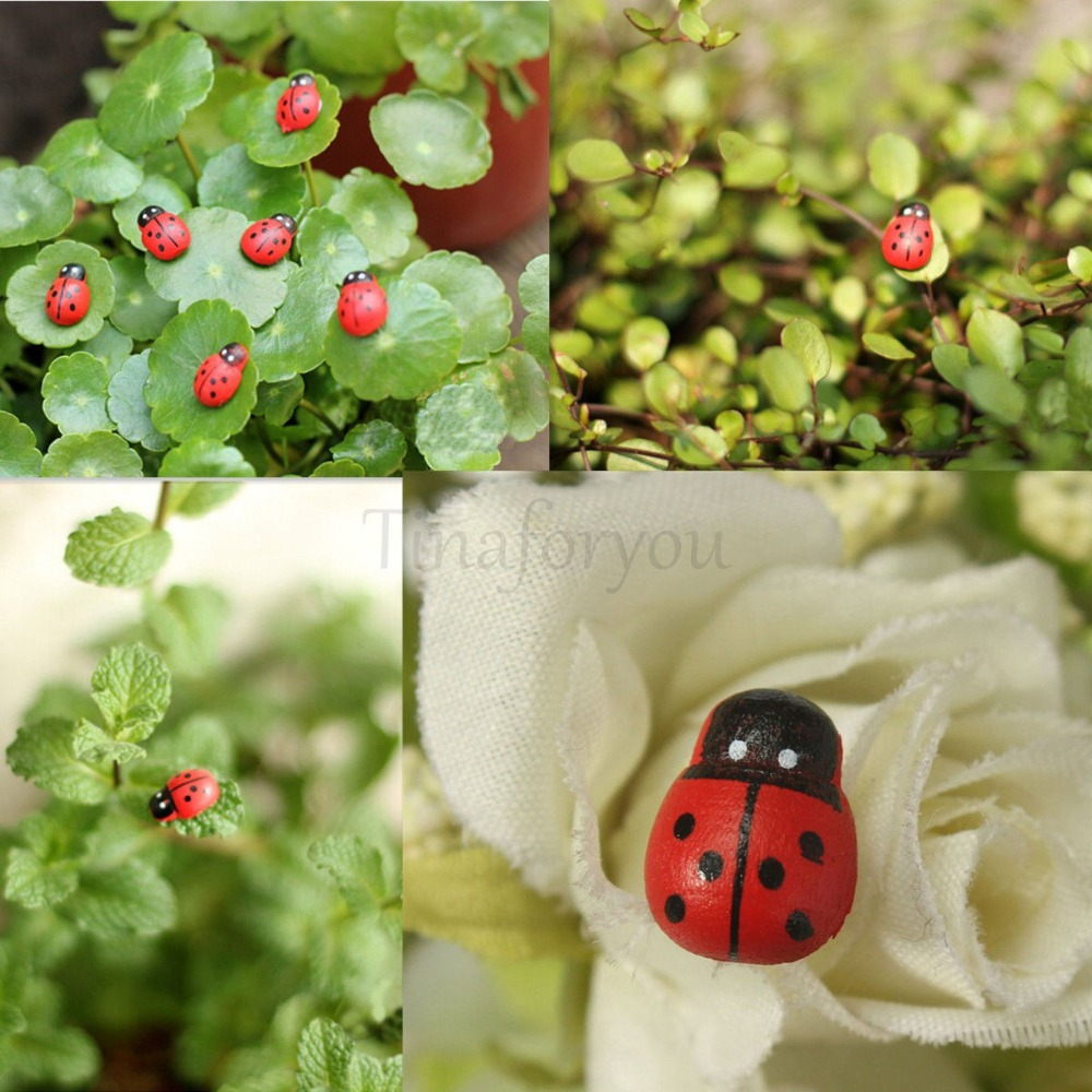 Decorative garden ornaments - 10pcs New Real Resin Decoden Garden Decoration Mini Ladybug Beatles Garden Ornaments Scenery Craft For Plant Pot Decor Al3314