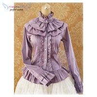 Sweet Cotton Lolita Blouse Long Sleeves Ruffles Stand Collar /Elegant Gray Cotton Long Sleeves Lolita Shirt !