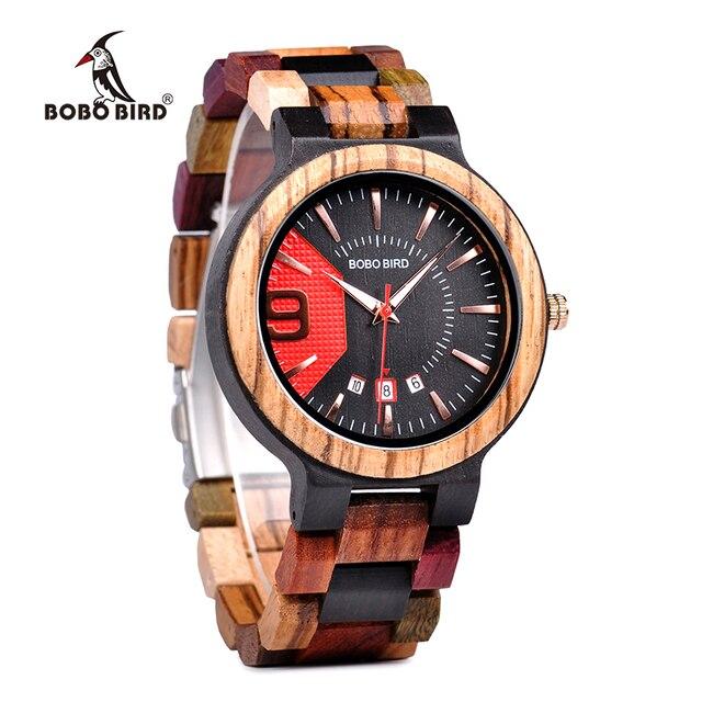 BOBO BIRD Unique Dail Auto Date Colorful Wood Band Wrist Quartz Watches