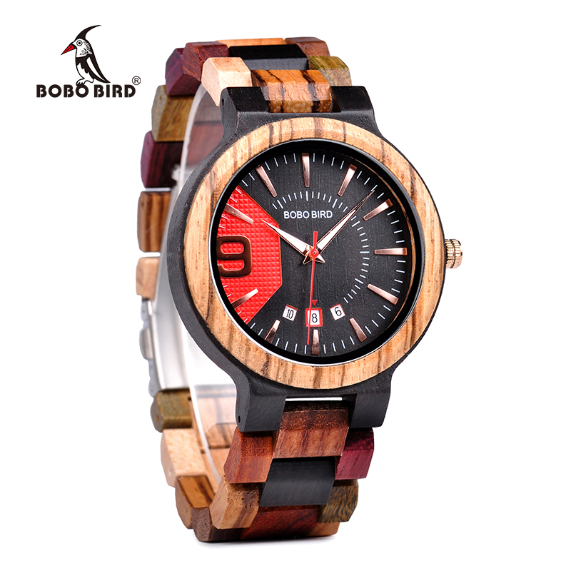 BOBO BIRD New Military Design Unique Dail Auto Date Colorful Wood Band Wristwatch Fathers Day GiftBOBO BIRD New Military Design Unique Dail Auto Date Colorful Wood Band Wristwatch Fathers Day Gift