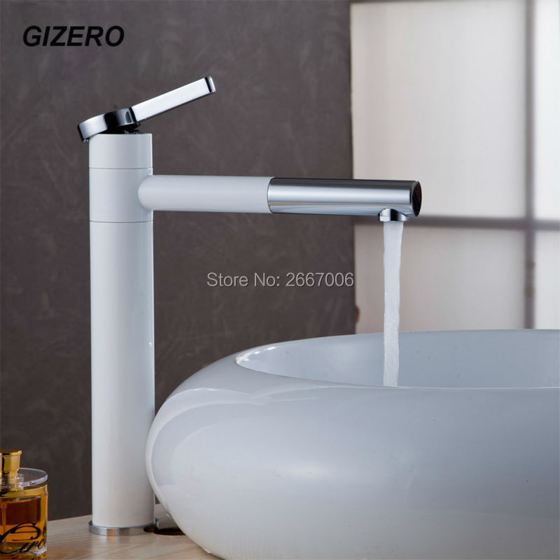 GIZERO Free shipping Tall Grilled White Painrted Chrome Countertop Basin Swivel Spout Faucet 360 Degree vessel sink faucet GI837