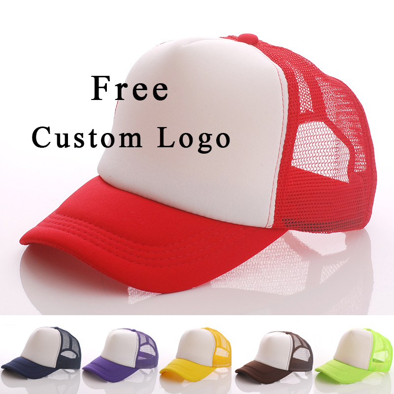10 PCS Free Custom Logo   Baseball     Cap   Adult Child Personality DIY Design Trucker Hat 100% Polyester Hats Blank Mesh   Cap   Men Women