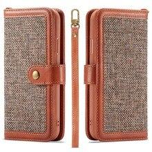 Luxe Canvas Linnen Lederen Flip Portemonnee Boek Case Voor Iphone Xs Max Xr X 8 7 6 S 6 Plus se Magnetische Telefoon Back Cover W/Hand Strap