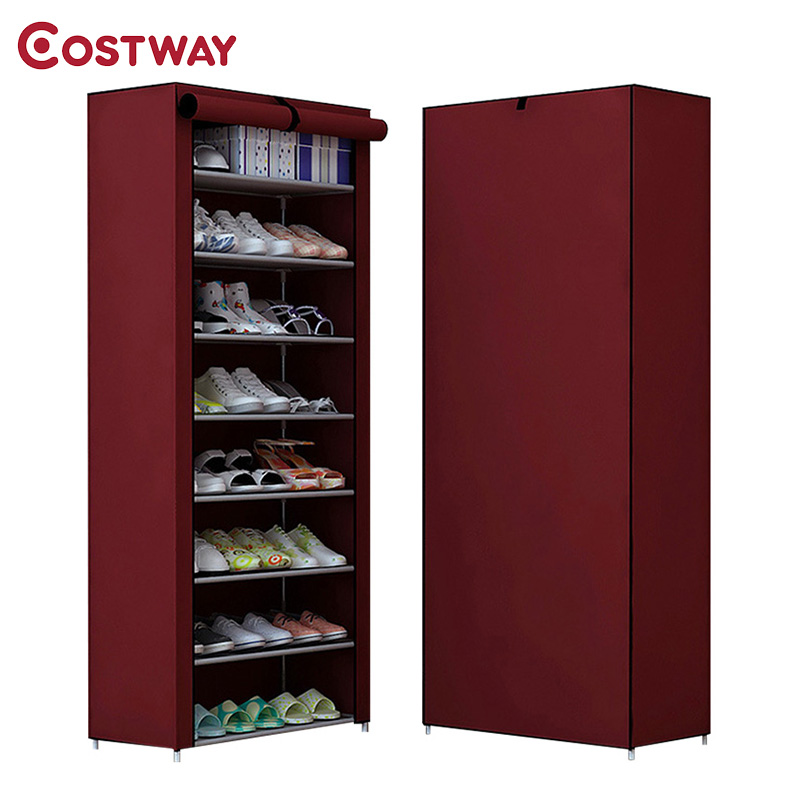 COSTWAY Non-woven Shoe Cabinets 8 Tier Shoes Rack Stand Shelf Shoes Organizer Living Room Bedroom Storage Furniture W0114 12 grid diy assemble folding cloth non woven shoe cabinet furniture storage home shelf for living room doorway shoe rack