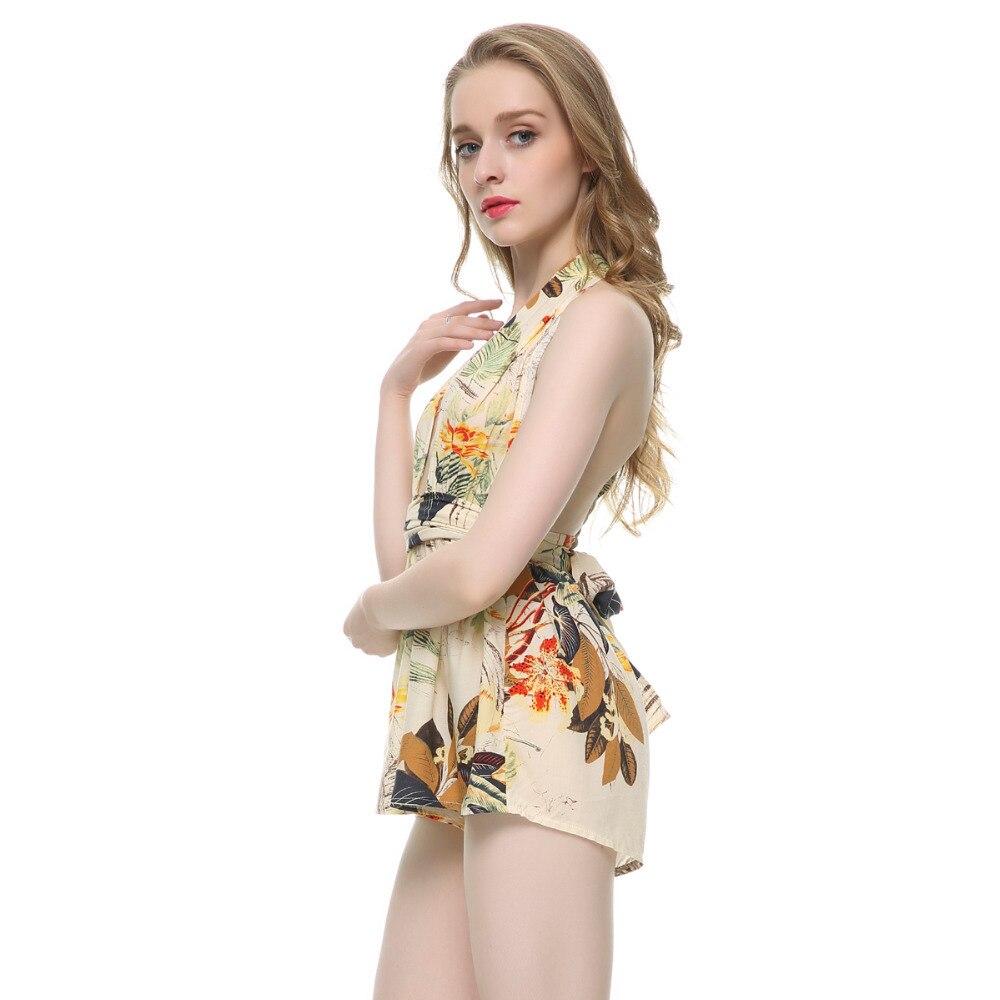 4591dda8e77 Fashion summer women deep v neck strap backless sexy beach jumpsuit romper  Floral print halter cross