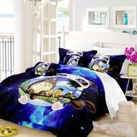 3D Cartoon Bedding Set White Cat Totoro Design Duvet Cover Set Purple Galaxy Bedding Child Natural Scenery Bedclothes 3Pcs D49