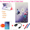 Для samsung с алмаз стенд Кожаный чехол капа пункт для Samsung Galaxy Tab E 9.6 T560 T561 Tablet PC корпус + ручка + Пленка + OTG