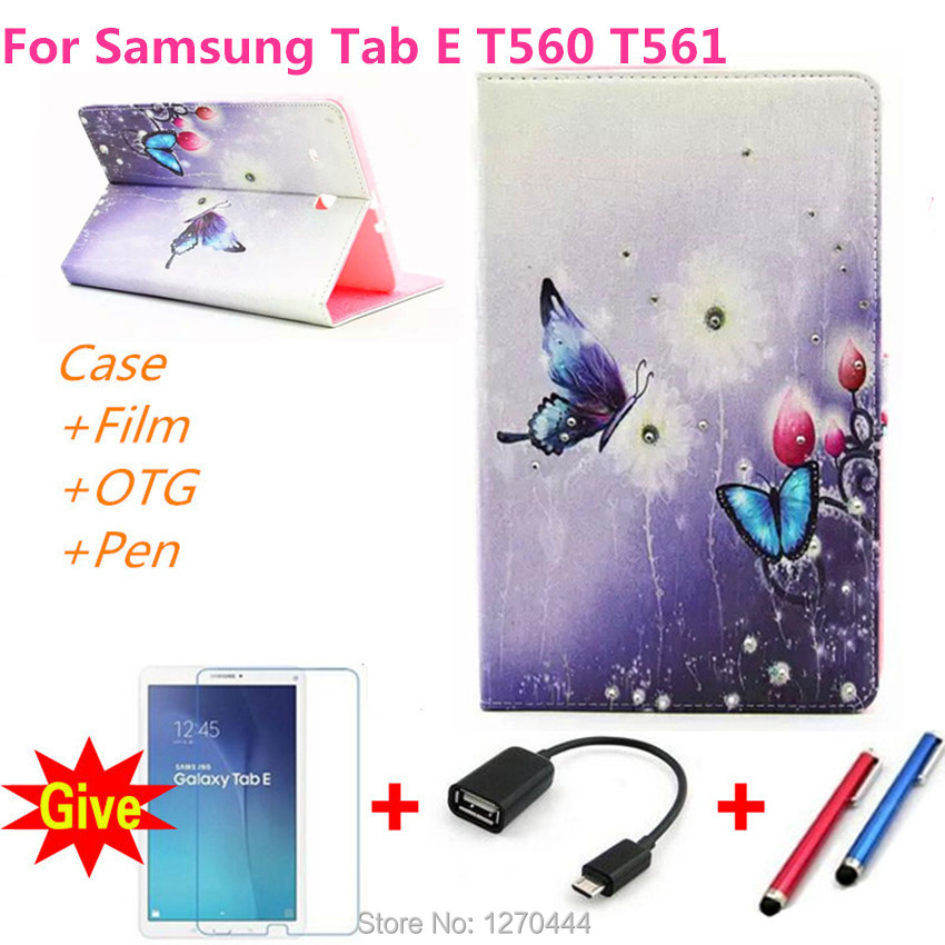 Luxury diamond PU Leather protective smart cases Auto wake up Cover For Samsung Galaxy Tab E