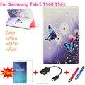 Para samsung con el diamante del Cuero del soporte cubierta capa para para samsung galaxy tab e 9.6 t560 t561 tablet pc case + pen + Película + OTG