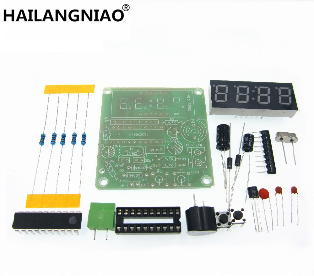 High Quality C51 4 Bits Electronic Clock Electronic Production Suite DIY Kits new the development of 51 single chip learning board 4 4 4 color led lightdiy electronic parts cotted production suite