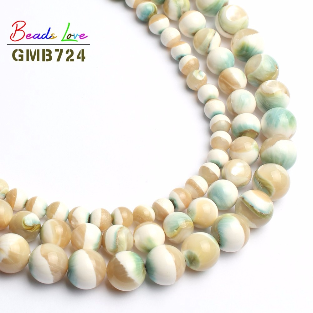Beads Jewelry Natural Bracelet Necklace Luminous-Shell Round for Making 8/10mm 15inches