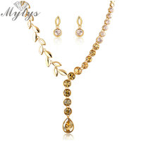 Mytys Gold Round Crystal Leaf Chain Pendant Necklace and Earrings sets 2017 Fashion Jewelry sets N999