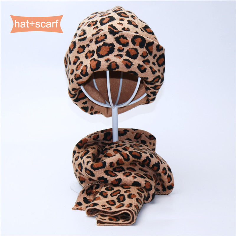 Fashion Leopard Print Unisex Hat And Scarf Set Autumn Winter Double   Beanies   Hats For Women Elasticity Warm Scarves Pom Pom Hat