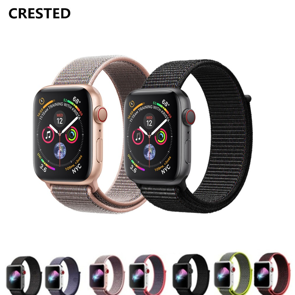 CRESTED Sport Loop For Apple Watch 4 band 40mm 44mm Woven Nylon strap 42mm 38mm correa iwatch 3/2/1 wristband bracelet belt mu sen woven nylon band strap for apple watch band 42mm 38 mm sport fabric nylon bracelet watchband for iwatch 3 2 1 black