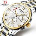 Бизнес модные часы для мужчин запас мощности серебро Нержавеющая сталь Автоматические механические водонепроницаемые белые часы relogio ...