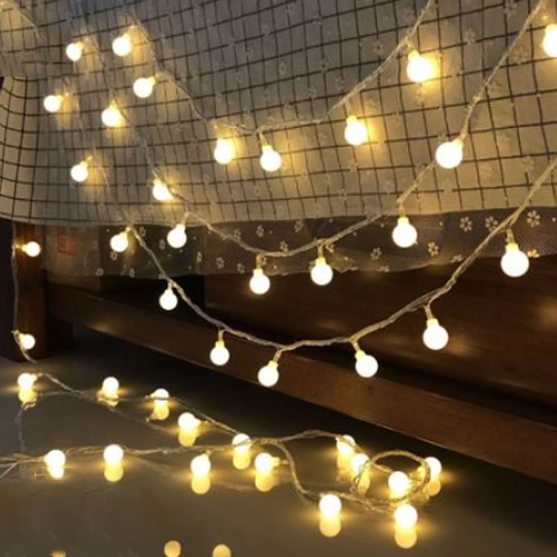 Battery Powered Ball LED String Lights 2m 3m 4m 5m 10M LED Rope Christmas Garlands Holiday Light Wedding Lantern Lighting outdoor lighting 2m 3m 5m 10m led battery powered led silver fairy string lights decorative christmas holiday wedding and party