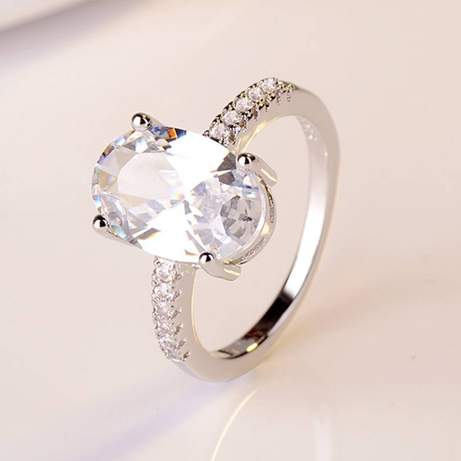 Women Gold Oval Orange Zircon Wedding Engagement Rings Jewelry Gift SIZE 6-10