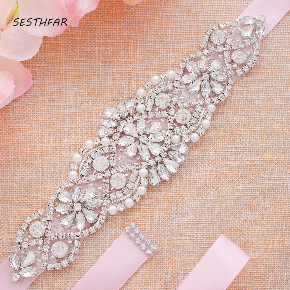 Rhinestones With Pearl Bridal Belt Diamond Crystal Wedding Belt Sash For Wedding Gown Wedding Decoration Sash Dress Belt J104S(China)