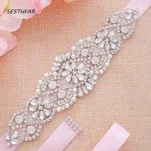 цена Rhinestones Bridal Belt Diamond Wedding Dress Belt Crystal Wedding Sash For Wedding Dress Accessories J104S