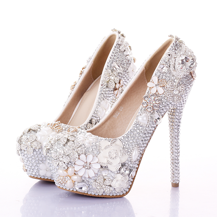 women heels with a fine bride shoes round shallow mouth of pink flowers 1fc5d48046c5