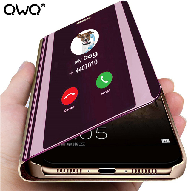 Funda de cuero con tapa de espejo para Huawei P30 P20 pro P10 Lite P Smart 2019 Mate 10 20 Pro 20X nova 3 3i 4 Honor 10 9 Lite funda