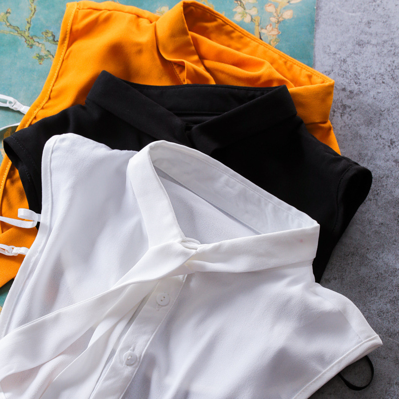 Ribbon Bow Pearl Necklace Women Shirt False Collar Stand Collar Shirt Fake Collar
