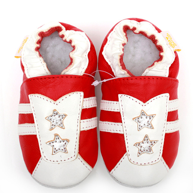 Baby Schuhe Leder Weiche Sohle Stern Muster Rot Baby Mokassins ...