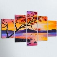 5ชิ้นHDภาพวาดน้ำสีต้นไม้แห่งชีวิตภูมิทัศน์โปส