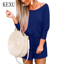 KEXU New Arrival Sexy Off Shoulder Long Sleeve Jumpsuits Women Casual High Street Romper with Belt Female Leisure Playsuits
