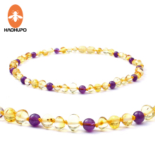HAOHUPO Amber Teething Necklace for Baby Jewelry Baltic Natural Amber Beads 5mm Amethyst Collar Gifts Kids Necklace