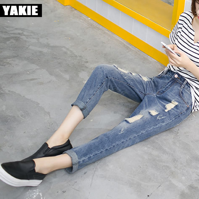 201Spring Summer New Jeans Women Ankle-Length Straight Mid Waist Jeans Lady Ripped Loose hole Fashion girl Trousers Plus Size new summer vintage women ripped hole jeans high waist floral embroidery loose fashion ankle length women denim jeans harem pants