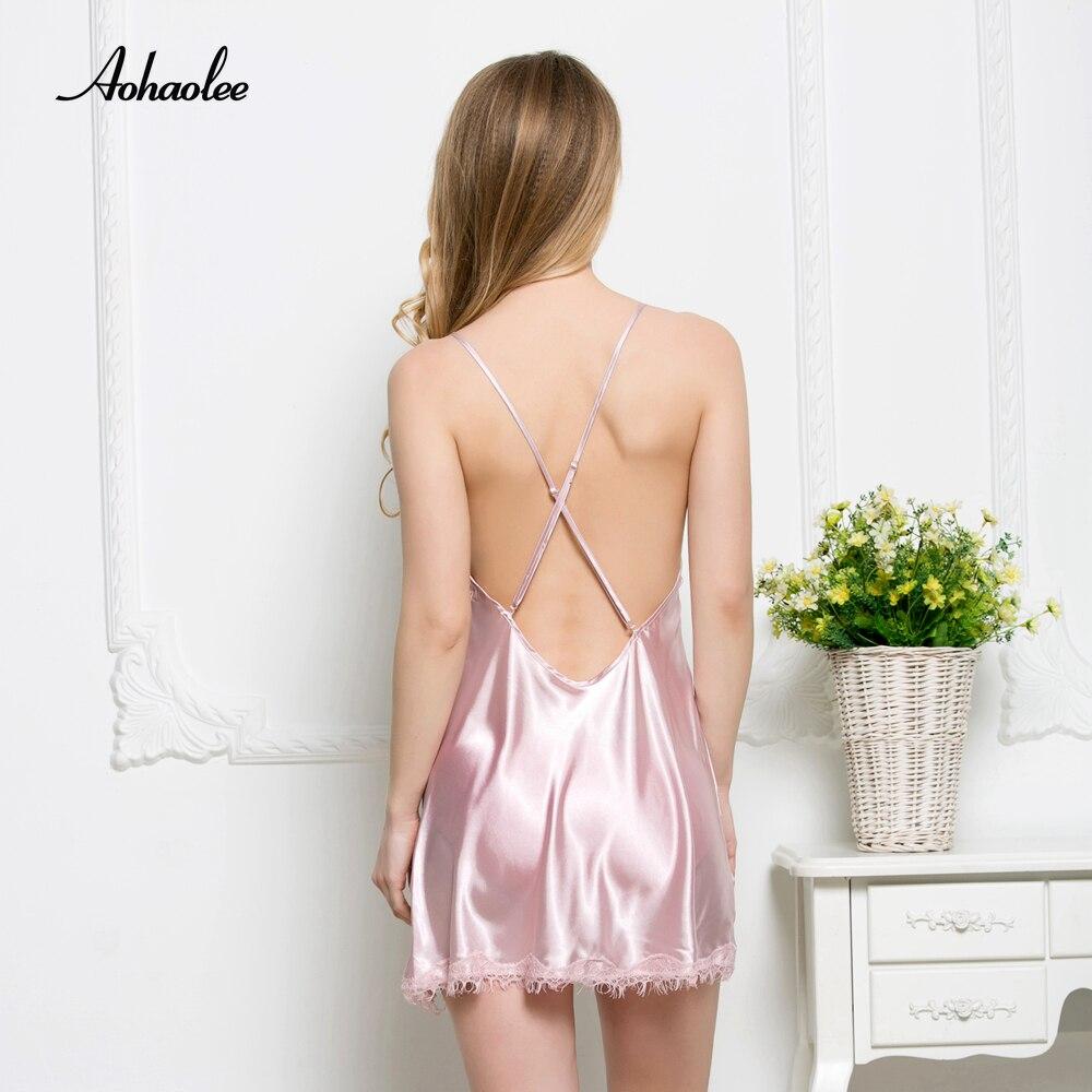 8177410dea AOHAOLEE Hot Sexy Silk Nightwear Nightgowns Women Sleepwear Dress Lace Robe  Silk Sleepwear Dress For Night Gown Robe Sleepshirts-in Nightgowns    Sleepshirts ...