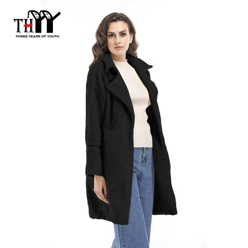 все цены на THYY Long Sleeve Wool Parka Green White Black Extra Warm ans Thick Turn over Collar Women's Long Outwear Winter Basic OL Style онлайн