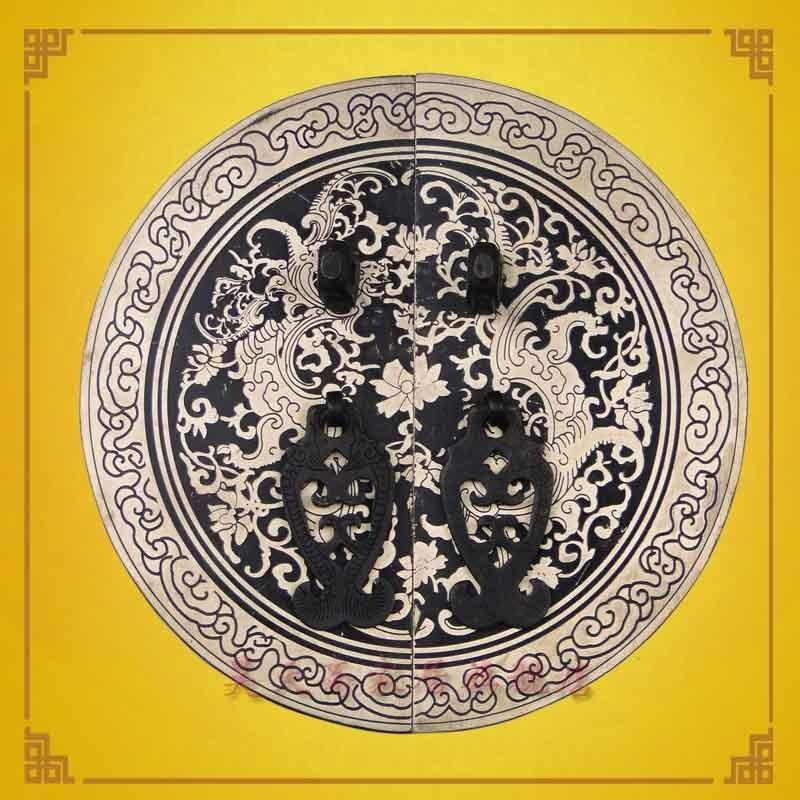 [Haotian vegetarian] Ming bronze copper door handle 18cm Shuangfeng Chaoyang paragraph HTB-129