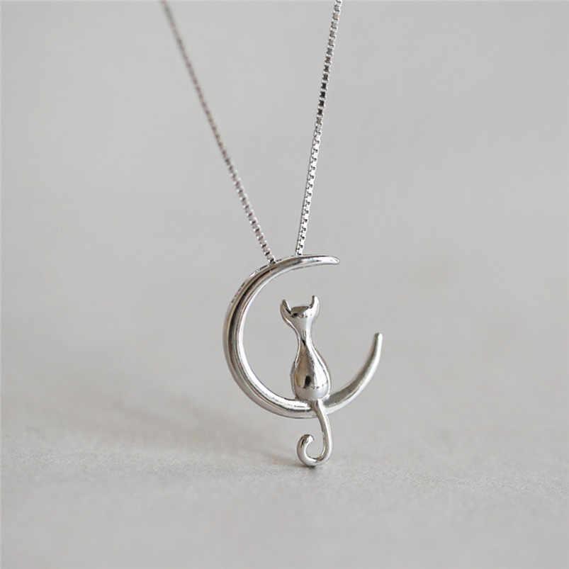 1 Pc nouveau mode bijoux argent or lune joli chat colliers pendentif femmes noël cadeaux Simple tempérament mignon chaîne D10