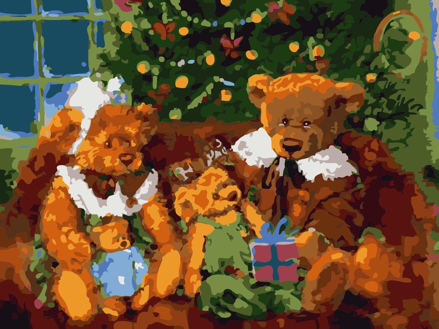 っFamilia del oso lona con marco decoración del hogar pintura al ...