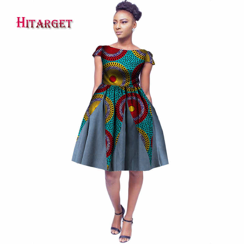 New African Dresses for Women Bazin Riche 2019 Fashion Splice O-Neck  Dresses Dashiki Kanga d2086736691b