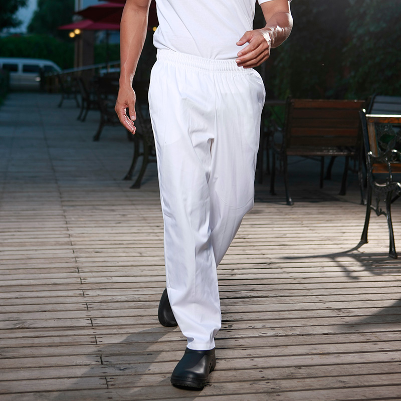 Food Service Hotel Restaurant Kitchen White Chef Trousers Adjustable Elastic Waistband  Loose White Chef Pants Men
