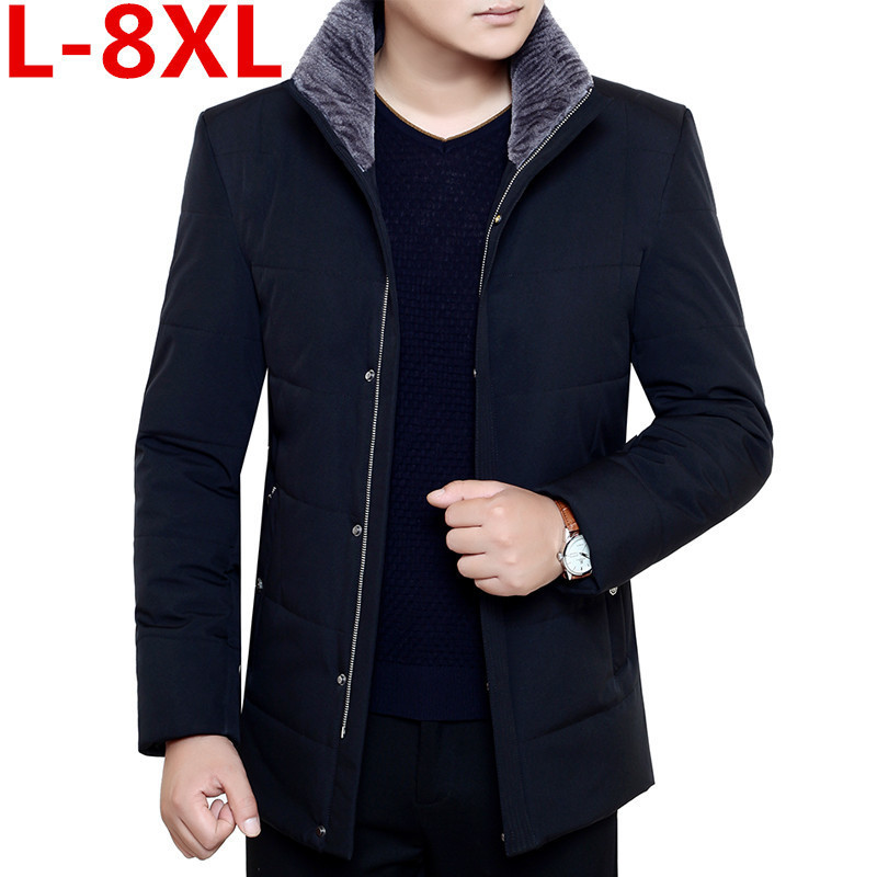 2018 plus size 8XL 7XL Brand Winter Jacket Men Thick Warm Down Jacket Mens Autumn Outerwear Zippers Fleece Parka Mens Solid Coat men plus size 4xl 5xl 6xl 7xl 8xl 9xl winter pant sport fleece lined softshell warm outdoor climbing snow soft shell pant