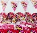 84 unids Kids Birthday Party Decoration Set Minnie Mouse Theme Fiesta de Cumpleaños Paquete de soporte de la magdalena