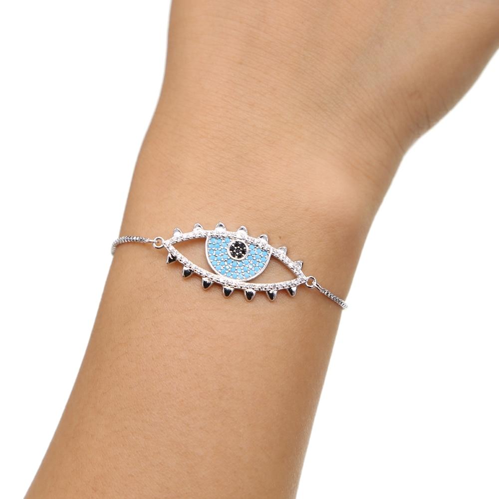 New Simple DESIGN Turkish Gold color Evil Eye Bracelet Pave CZ Blue Eye Gold Chain Bracelet Fashion Bracelets for Women
