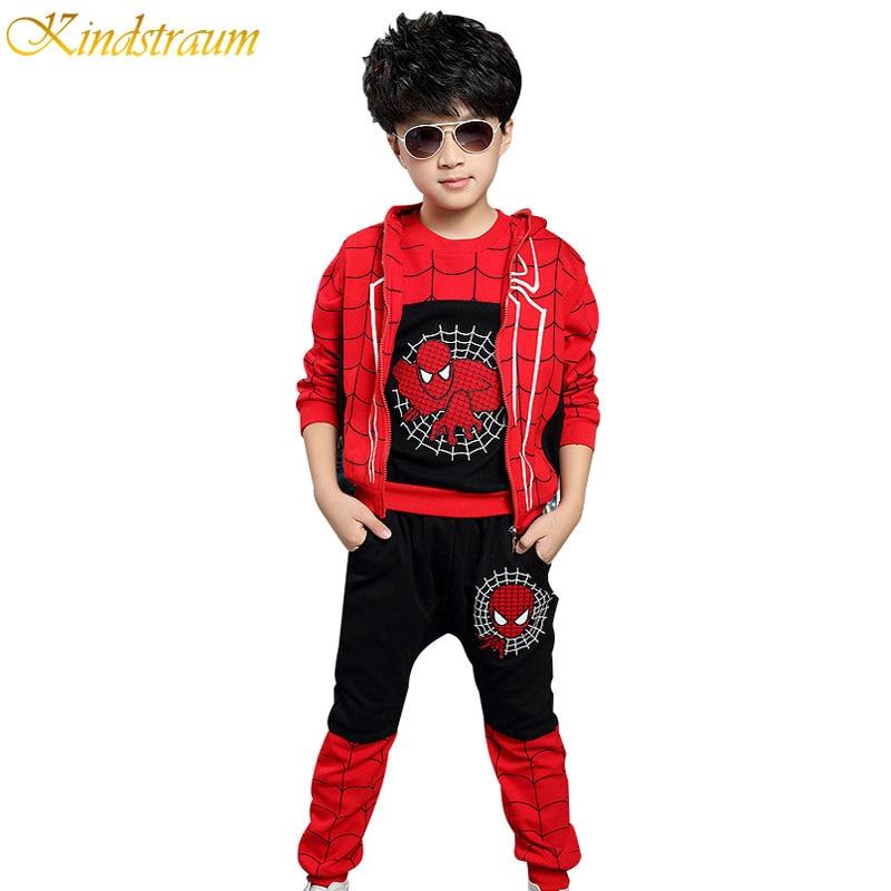 2017 Hot Sale Children Tracksuits Spiderman Autumn Boys Sports Suits 3 Pieces Vest T Shirt Pants