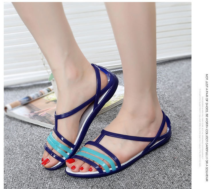 HTB1.ZHlasfrK1Rjy1Xdq6yemFXah Women Flat Sandals Jelly Shoes Summer Beach Shoes Sandalia Feminina 2019 Candy Color Slides Ladies Slippers Chaussures Femme