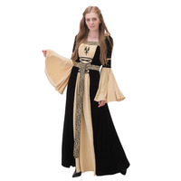 Womens Velvet Medieval Renaissance Victorian Wedding Dress Ball Gown Hooded with Belt Fantasy Halloween Cosplay Costume