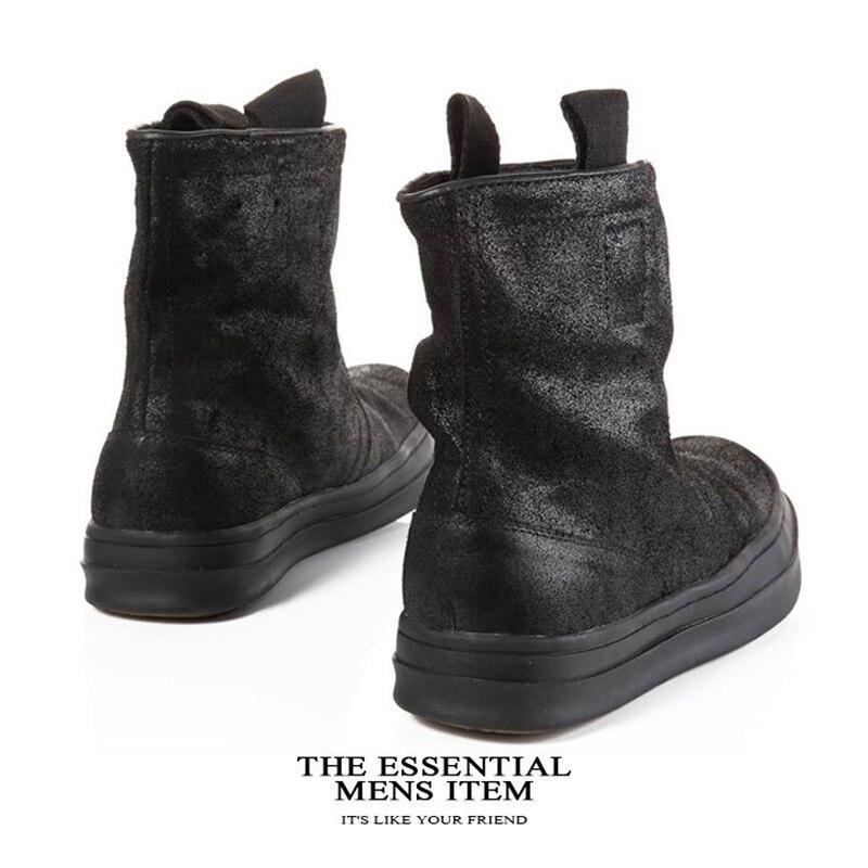 Célèbre marque décontracté noir haut haut large veau haut chaussures en daim de vache en cuir véritable bas chaussure plat Justin Bieber botte - 3