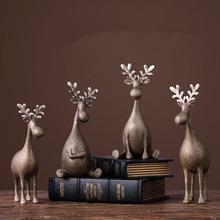Resin Statue Home Decoration Accessories Modern Deer Desk Decoration Christmas Decorations Figurines